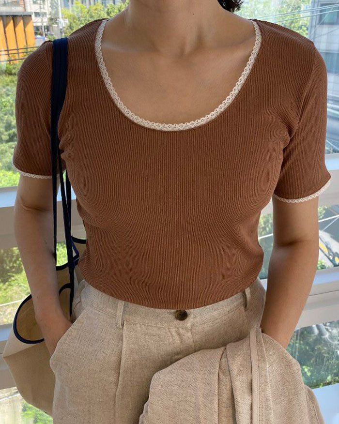 Hari Ribbed Lace Point Top (4855047258190)