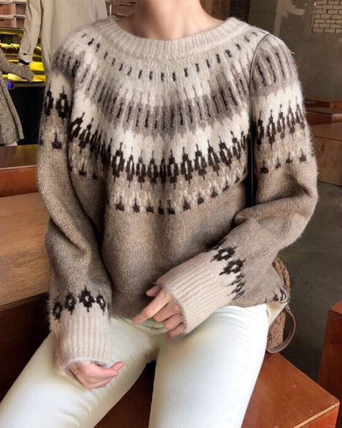 Snow Flower Argyle Knit Top (4779503288398)