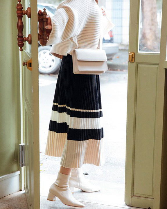 3Colours Of Shadow Pleats Knit Skirt (4699524464718)
