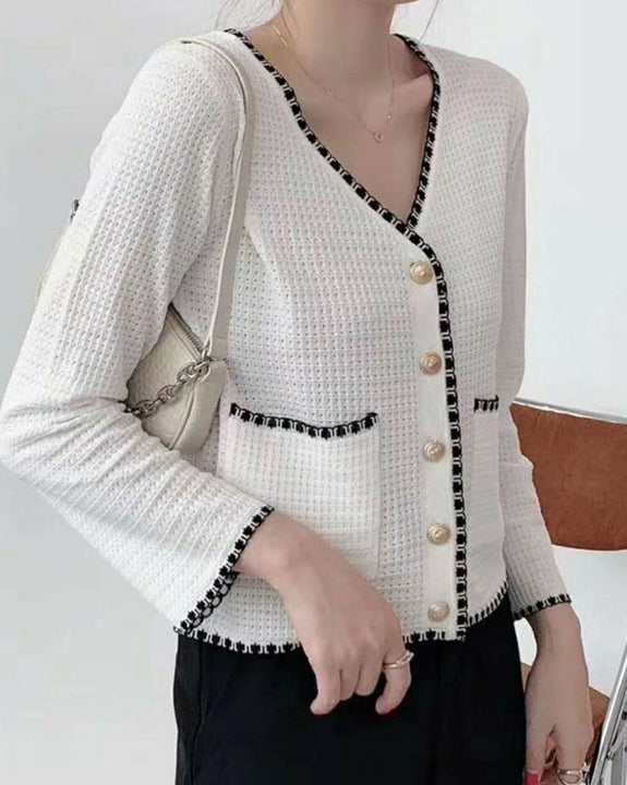 Tweed Gold Button Cardigan (4828385542222)