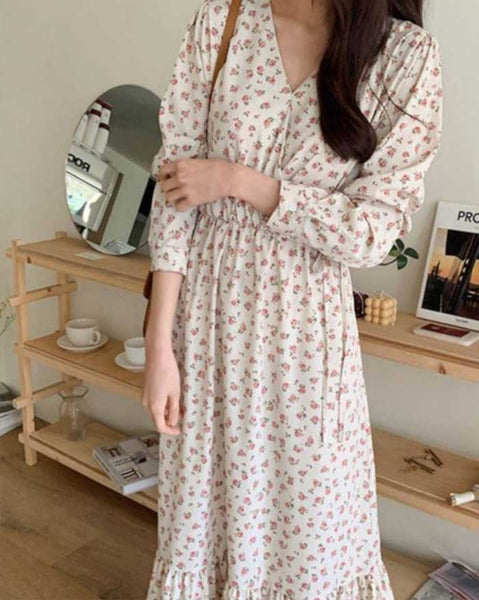 Dot Floral long dress (6102702063788)