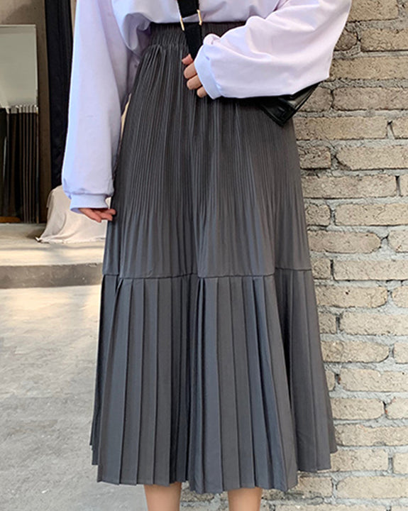 Ella Pleated Long Skirt (4727098933326)