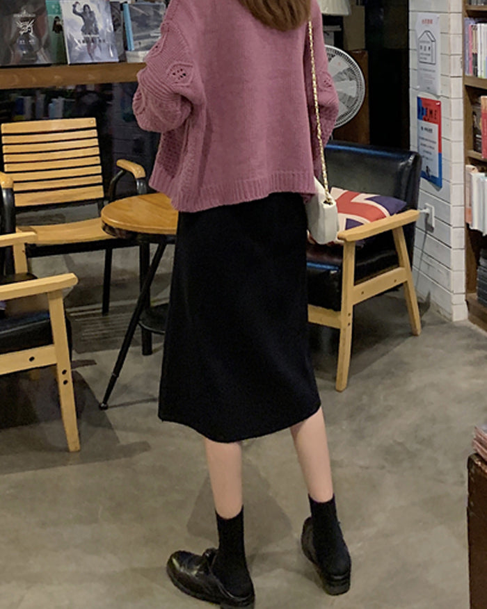 Lomis Four Buttons Knit Skirt (4630980689998)