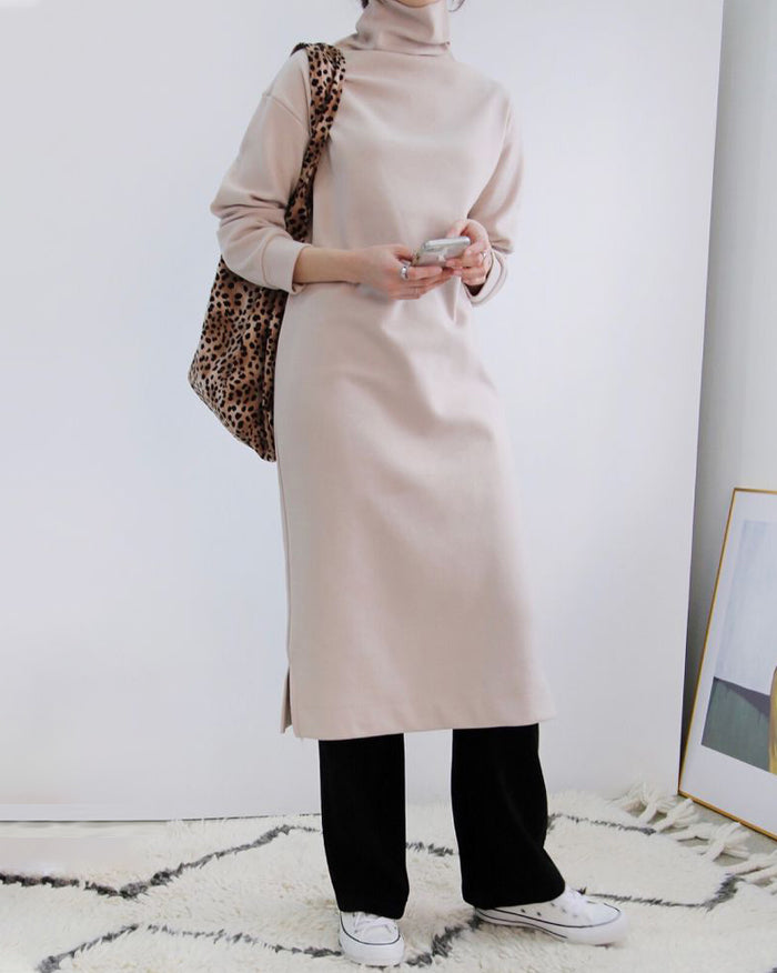 Butter Turtleneck Knit Dress (4801084817486)