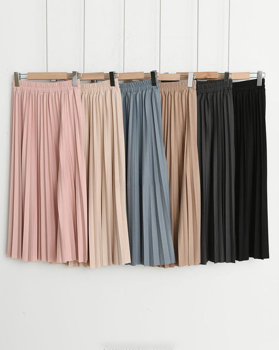 Honey Pleated Long Skirt (4818721833038)