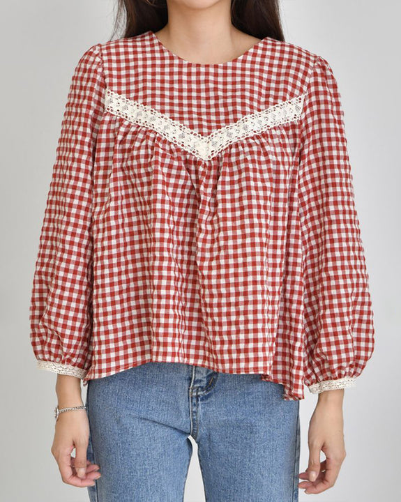 Checky V-Lace Blouse (4822328836174)