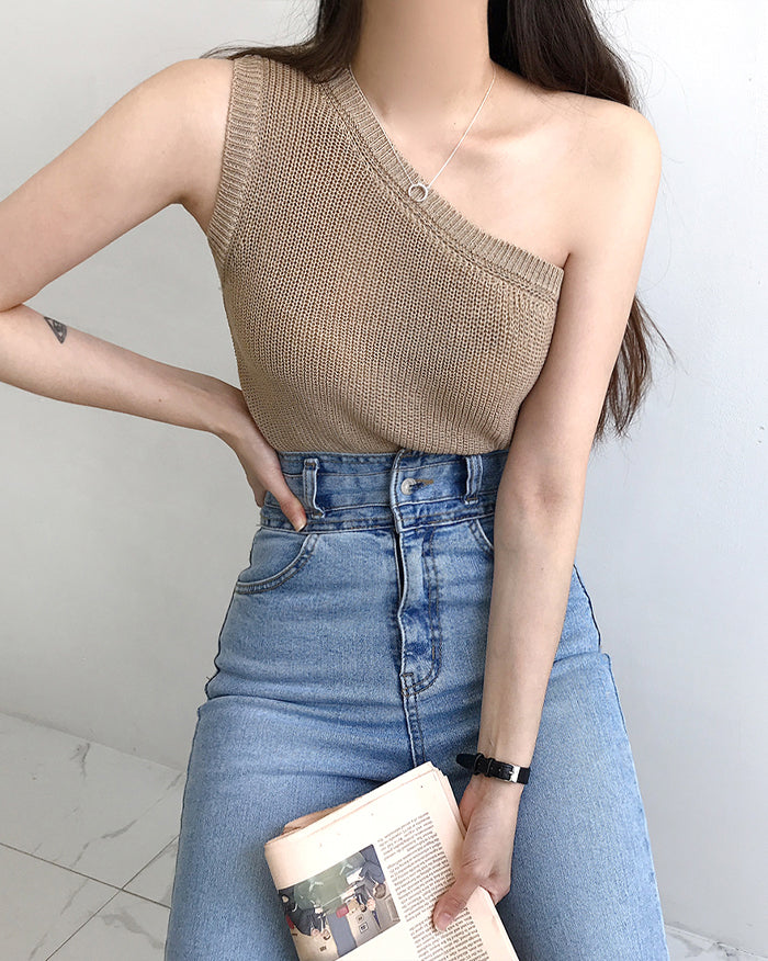 Sleeveless Off-Shoulder Knit (6136201478316)