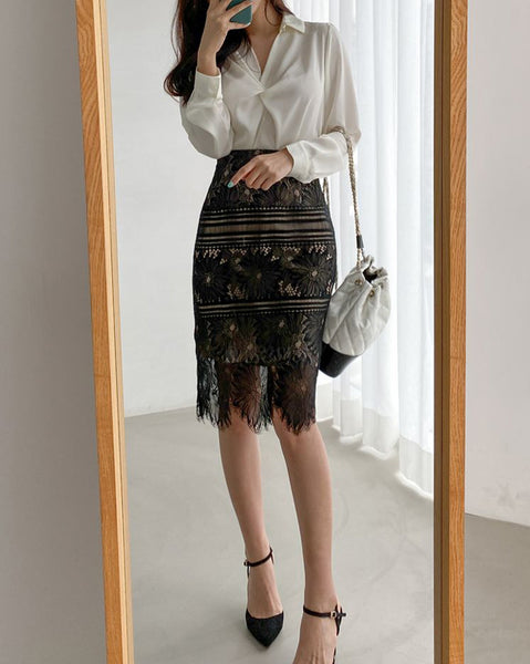 Rinda Lace High-Waisted Midi Skirt (4842318528590)