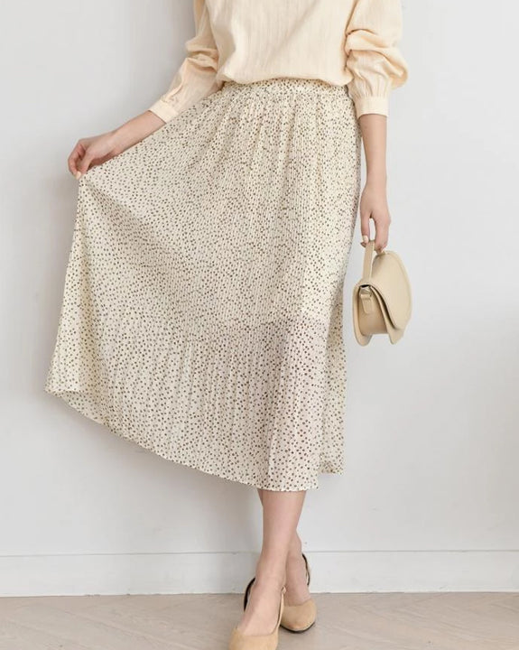 Mini Dot Long Pleats Skirt (4382210523214)