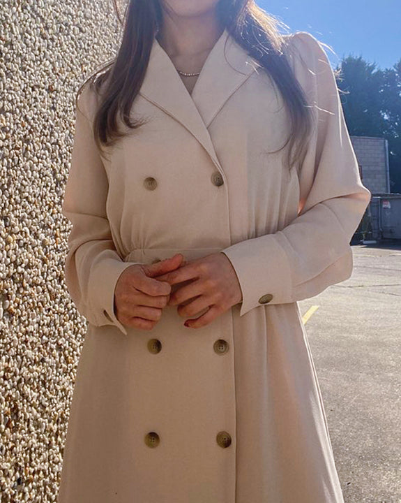 Two Way Double Buttons Trench Dress (4850020221006)