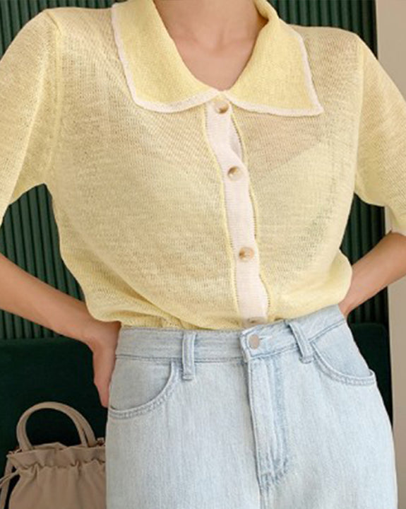 Pastel Collar Point Knit Top (6044816769196)