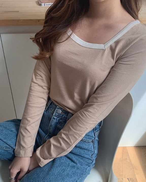 Two Tone Square Neck Top (4864805994574)