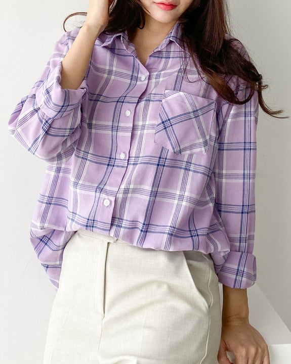 Cotton Candy Check Shirt (4577689665614)