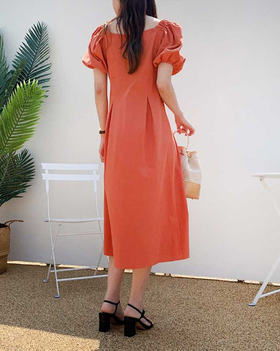 Square Neck Short Puff Sleeve Dress (6106890174636)