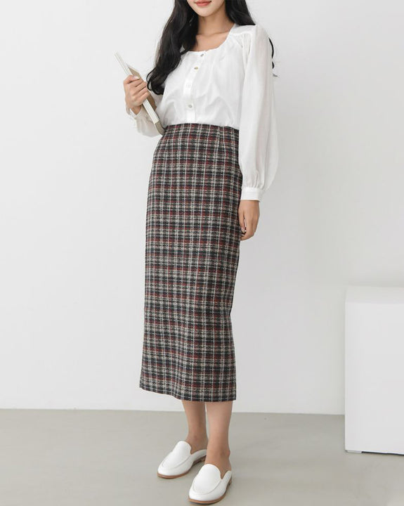 Tweed H-Line Midi Skirt (4827857059918)