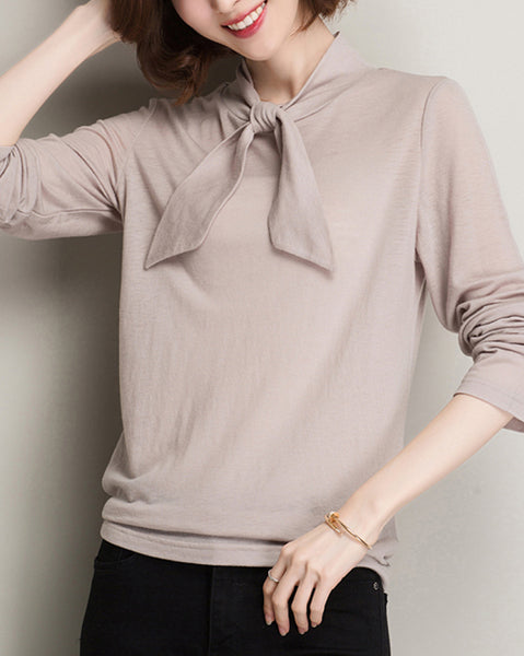 Solid Tie Knit Top (4641514324046)