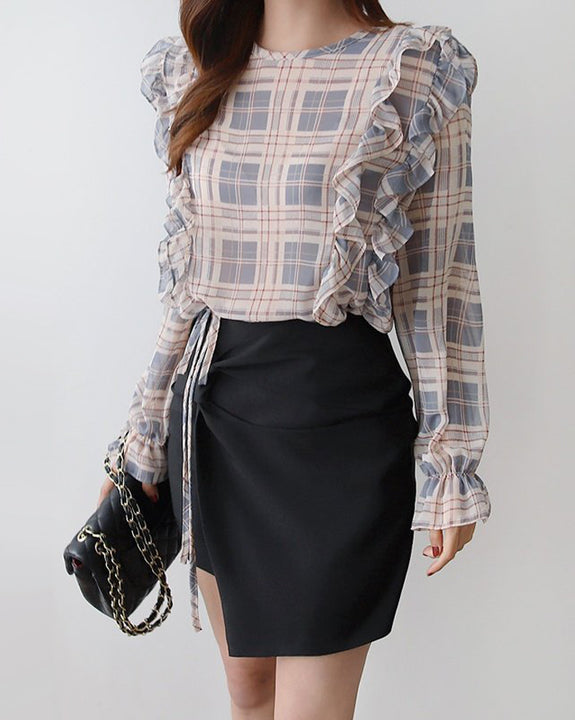 Sweet Action Check Blouse (4836490215502)