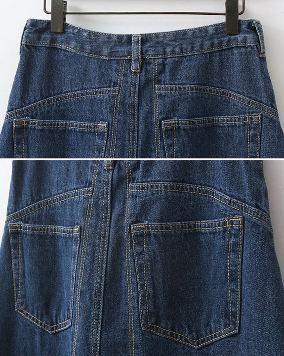 Slit Point Wide Denim Skirt (4727720476750)