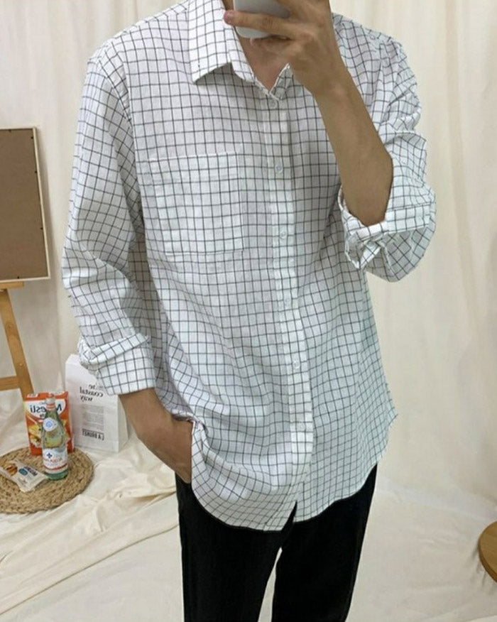 Men Plaid Button Up Shirt (6596247158956)