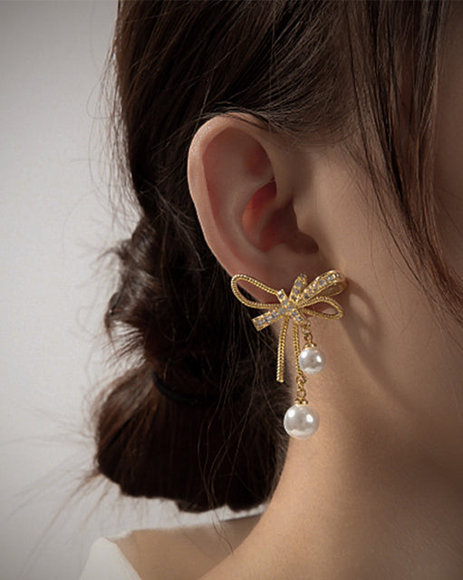 Ribbon Pearl Earrings (6195038159020)