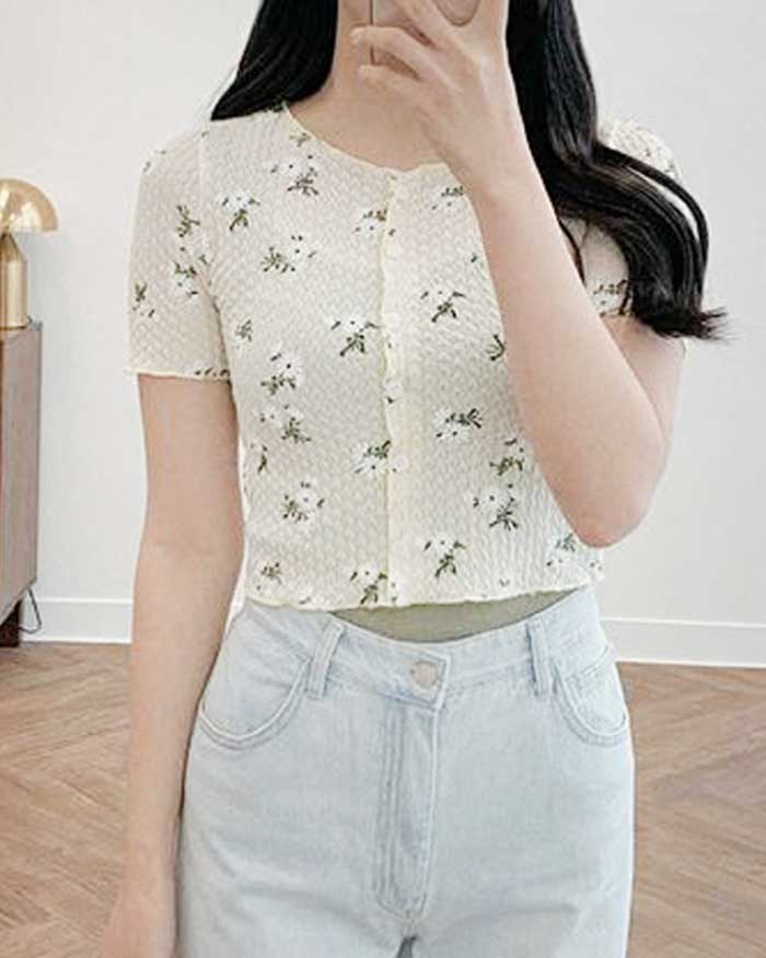 Flower Button Top (6134001860780)