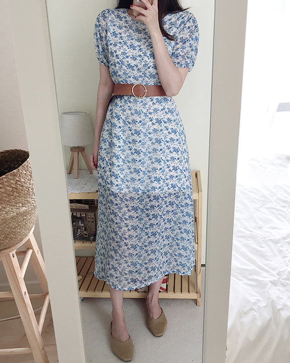 Dellin Floral Belt Dress (4842332651598)
