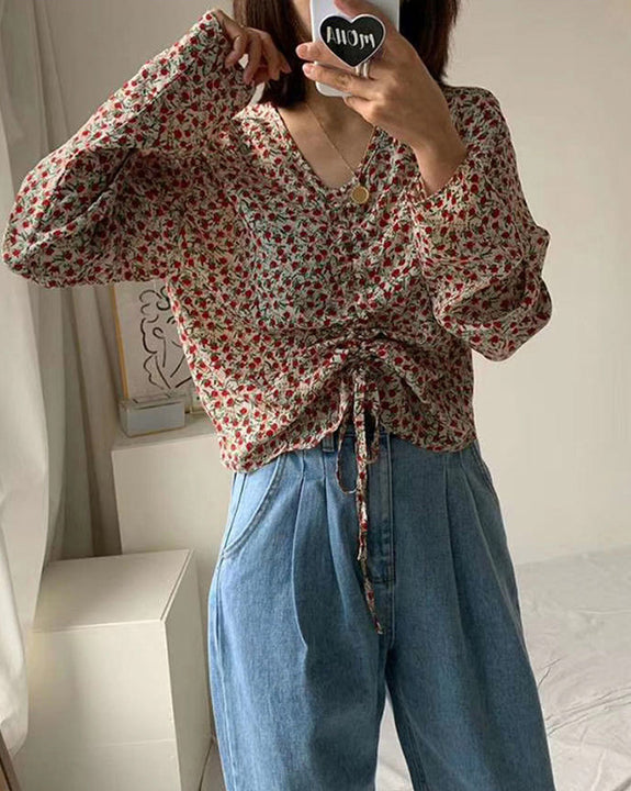 Morning String Floral Blouse (4834039693390)