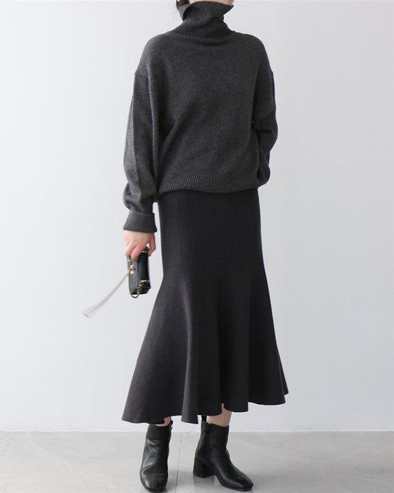 Matilda Wool Knit Skirt (4676776296526)