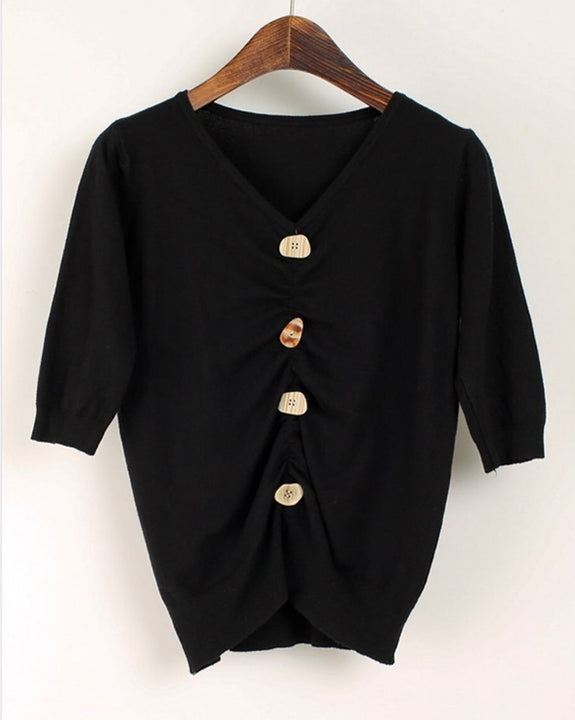 Vintage Unique Buttons Point Knit Top (4727549132878)