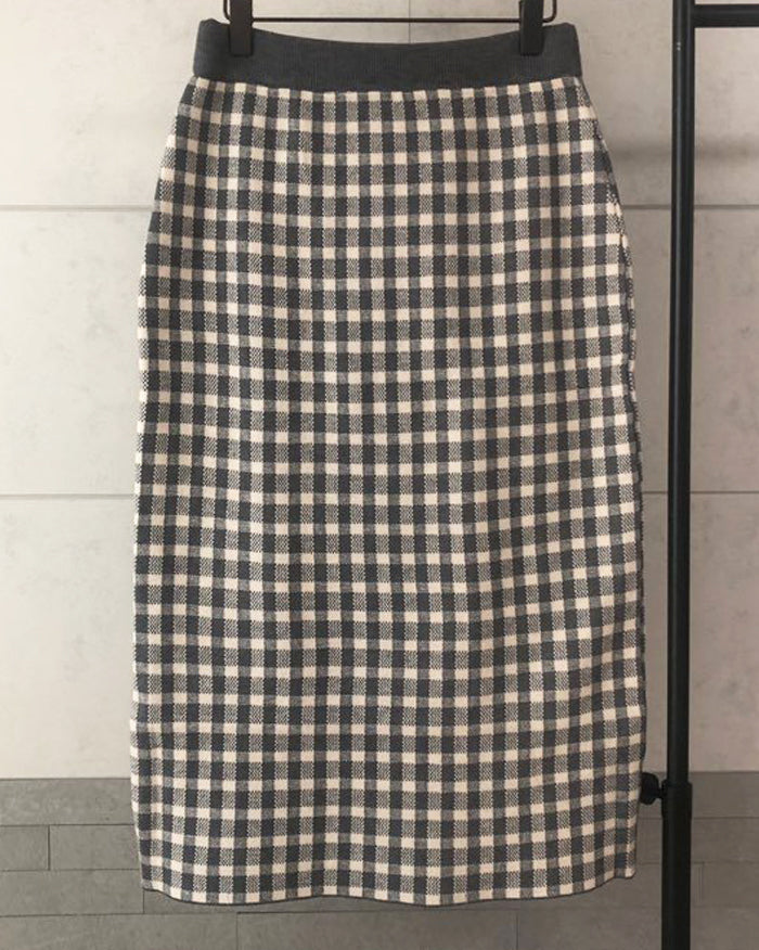 Karen Check Knit Skirt (4612229824590)
