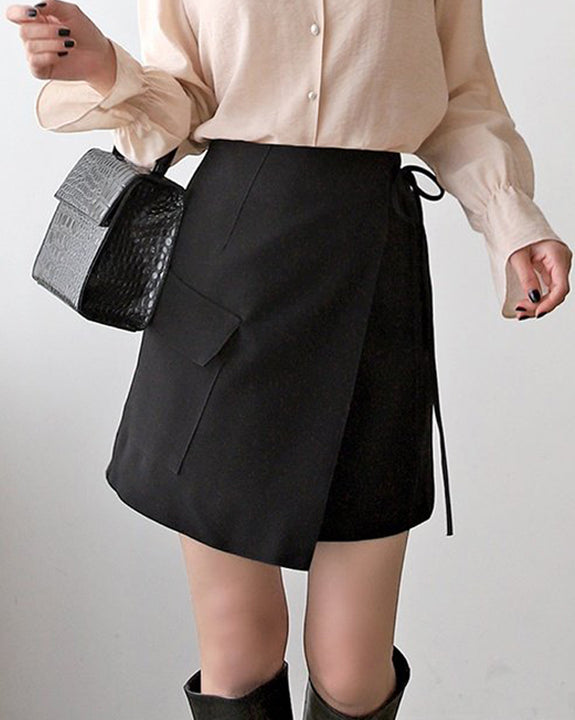 Asymmetrical Mini Skirt (4836495622222)