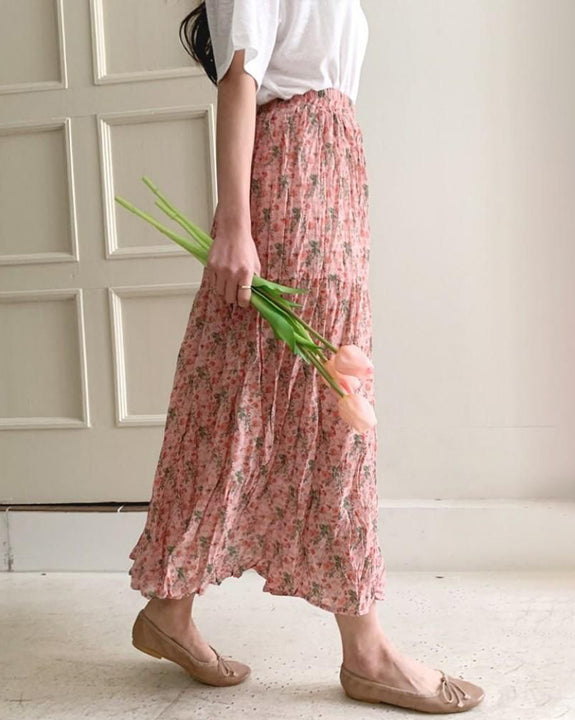 Rosee Wine Floral Skirt (4834051915854)
