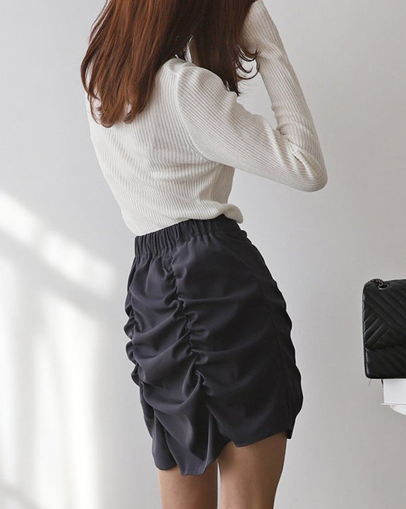 Gina Shirring Mini Skirt (4792511692878)