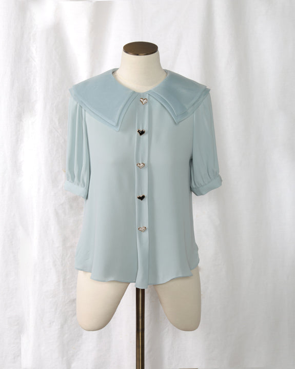Heart Button Blouse (Short) (4459075305550)