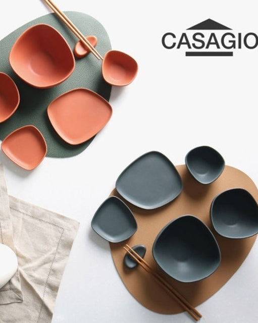 Casagio Pebble Dinner Set 12P (Coral Brown and Stone Charcoal) (6619520172204)