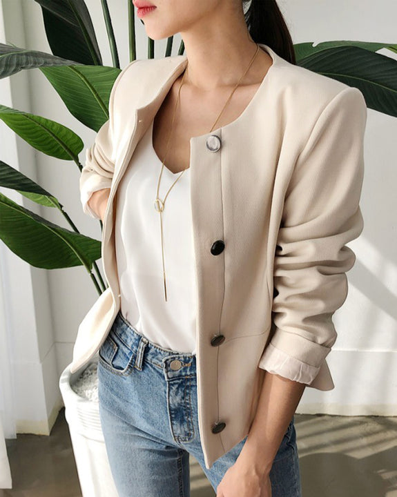 Flip The Lucky Coin Collarless Short Jacket (4648613838926)