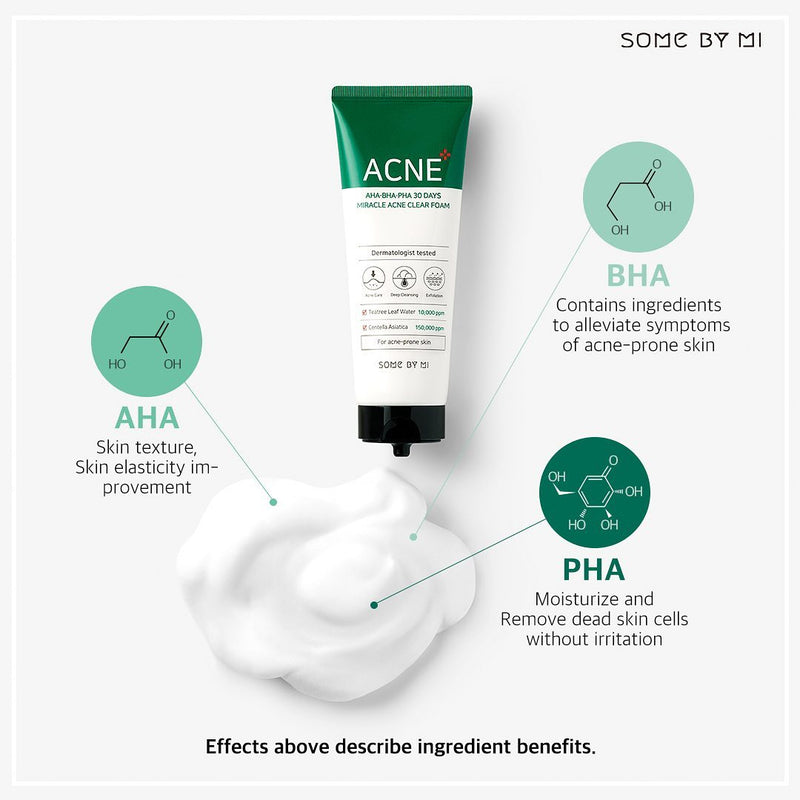 AHA-BHA-PHA 30Days Miracle Acne Clear Foam - SOME BY MI