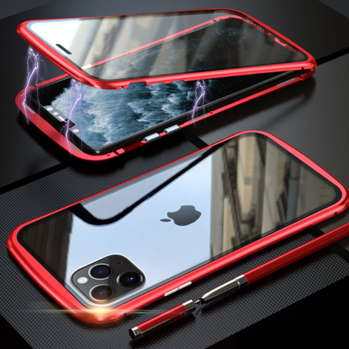 Red magnetic shell in two sides glasses for iphone 11 pro (new generation)