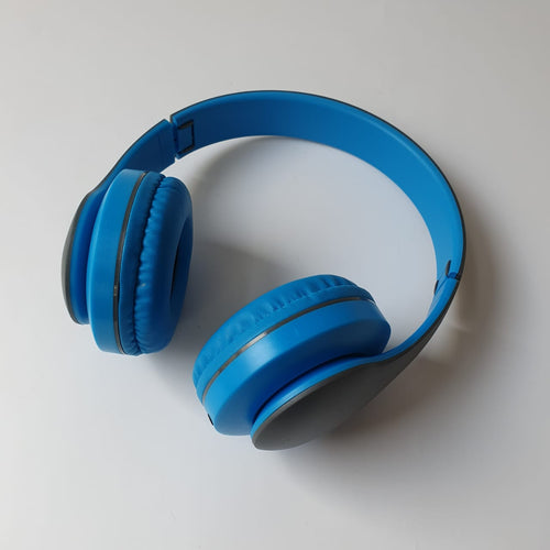Blue fold-able wireless headphones 1