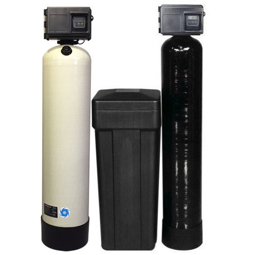 Fleck 2510AIO 2.5 Katalox Light Iron Filter & Fleck 2510SXT 64,000 Grain Water Softener