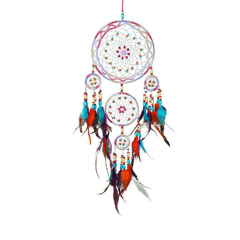 "Orange and Pink Dream Catcher <br/>""Waban"" - dreamcatchers-shop.com"