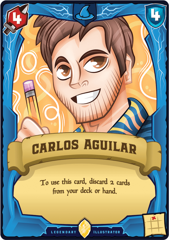 Carlos Aguilar playing card - To use this card, discard two cards from your deck or hand