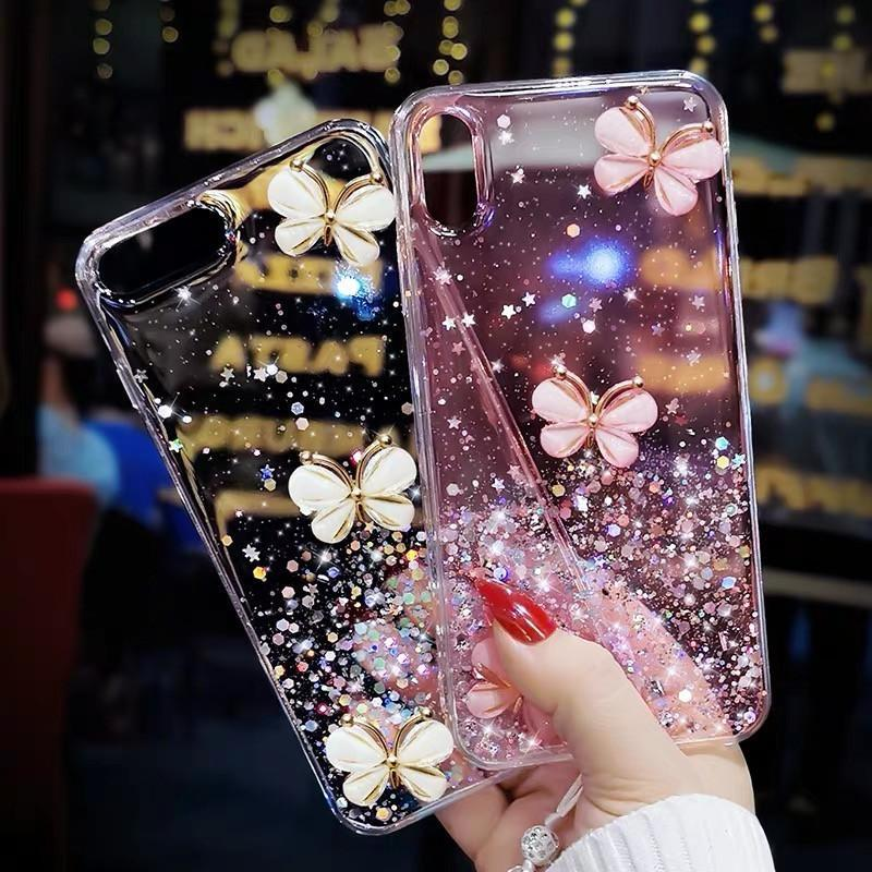 3 Pcs Butterflies Glitter Phone Case with Strap - Narce Cases