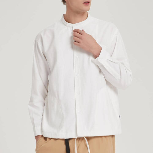 Boysnextdoor Band Collar Oxford Shirt White