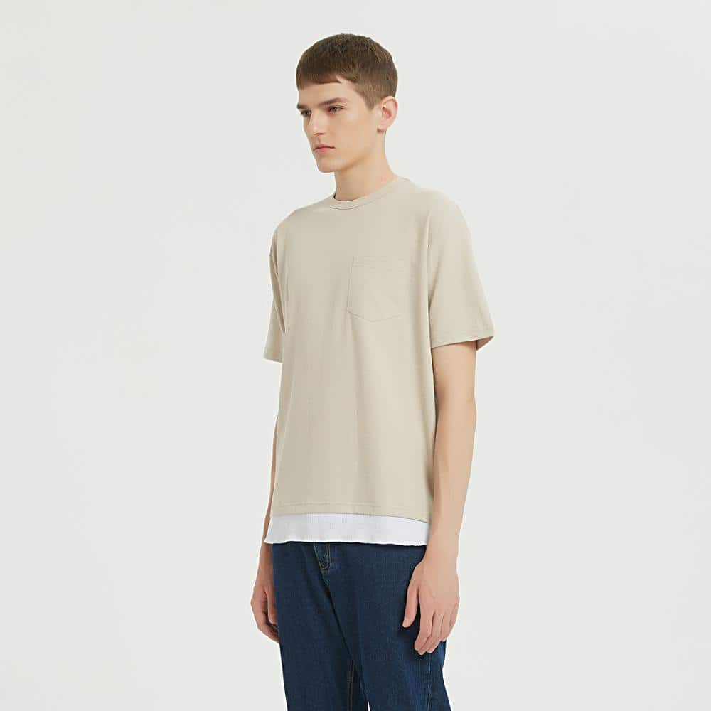 Boysnextdoor Fake Layer Pocket Tee Beige