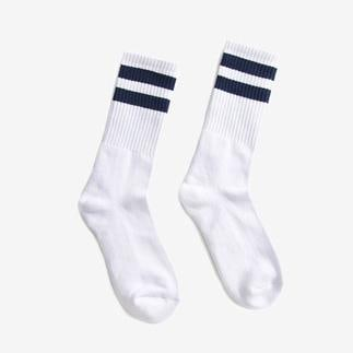 Boysnextdoor Sport Socks in White with Navy Stripes