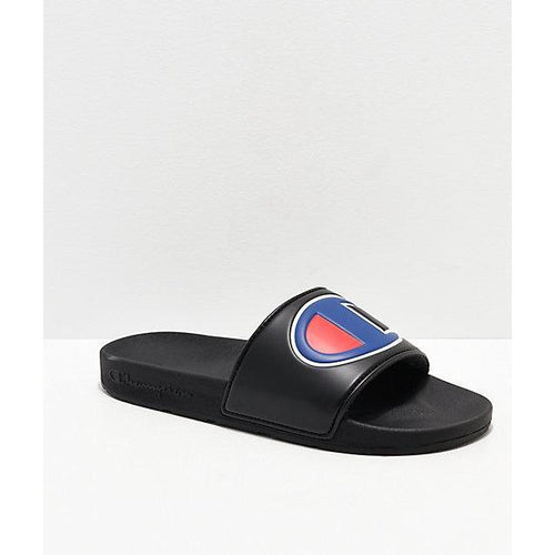 Champion IPO Black & Blue Slide Sandals