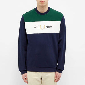 Fred Perry Embroidered Logo Panel Crew Sweater