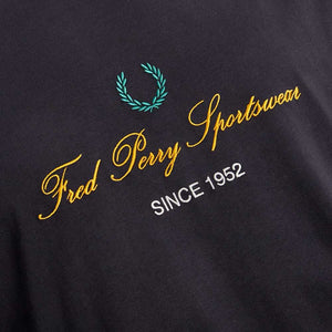Fred Perry Script Embroidered T-Shirt Black