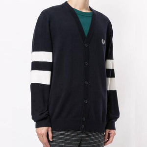 Fred Perry Tipped Sleeve Cardigan Navy